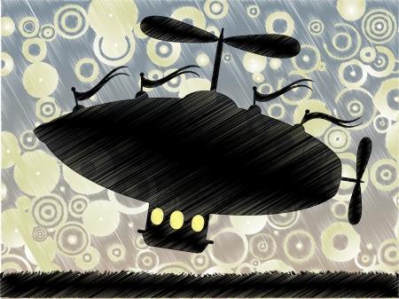 シルエット スケッチ飛行船明るい抽象的なスカイラインで囲まれた芝生の上で上昇します。