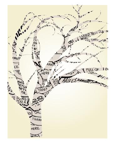 Arbre unique décrit par dessinées Word ballons Banque d'images - 7827232