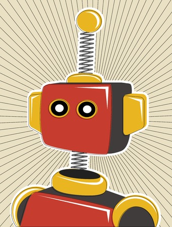 tin robot: Robot colored in retro offset style and colors lines surrounding