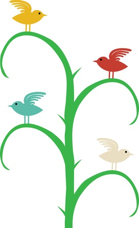 Four different color birds with wing up sit on curvy tree branches Stock Vector - 7865237