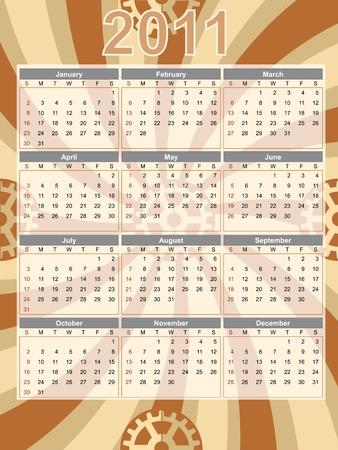 Full Year Calendar 2011 Portrait Swirl Gear Abstract Editable  illustration