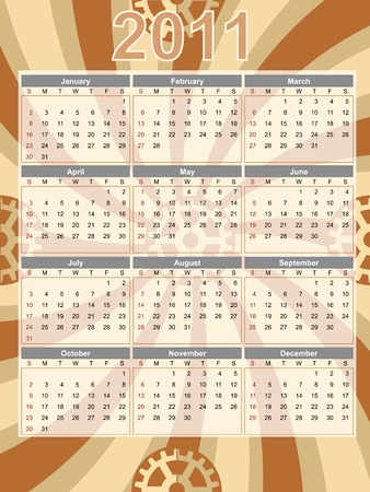 calendar page: Full Year Calendar 2011 Portrait Swirl Gear Abstract Editable  illustration