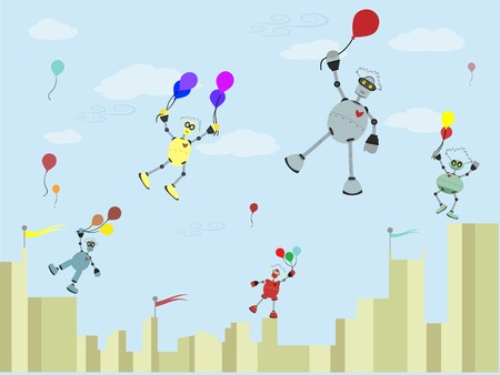 Robots Carrying balloons float up into the air Stock Vector - 7964106
