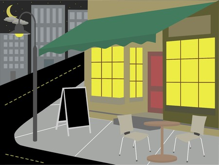 moon chair: Storefront restaurant urban cityscape at night illustration Illustration