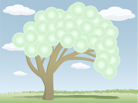 grassy field: Tree with abstract circle leaves alone in grassy field