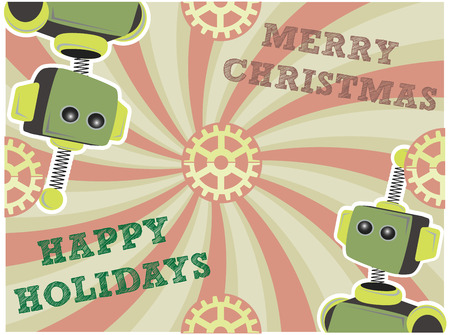 Christmas Robot Background Swirls and Gears Vector