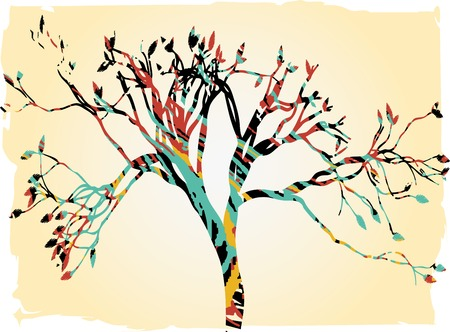 Colorful retro tree tan gradient borders splatter outline Illustration