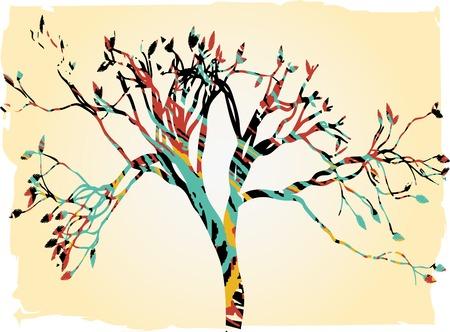 Colorful retro tree tan gradient borders splatter outline Illustration