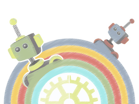 Two Sketchy Robots Popping Up from Rainbow with gear Vector