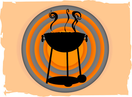 charcoal grill: BBQ inside abstract circle bullseye like grungy boarder