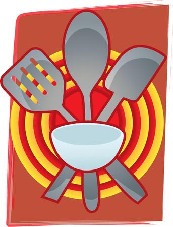 Bäckerei Geschirr gruppiert an Bulls Eye wie abstrakte Hintergrund