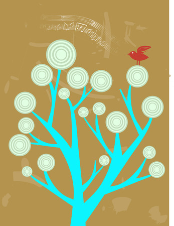 Single Red Bird Singing sitting on top of abstract tree Vector