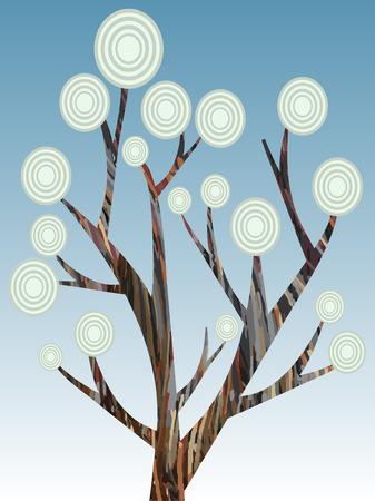 Retrò albero astratto di vernice stile illustrazione  Archivio Fotografico - 8085434
