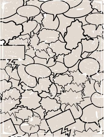 空白の漫画本対話泡のコラージュ
