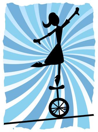 circus bike: Silueta de mujer balanceo en monociclo en cuerda  Vectores