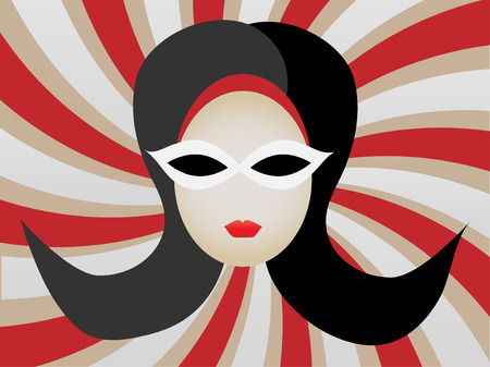mod: 1960s Womans Head inside Swirl vector illustration