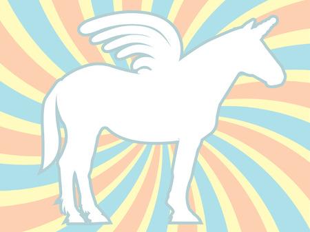 White Silhouette Unicorn Swirl Background  イラスト・ベクター素材