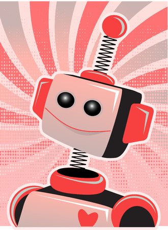Valentine Robot Portrait Smiling Swirl and Halftone Vector