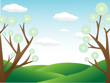 Abstract trees surrounding hill countryside day Stock Vector - 8263483