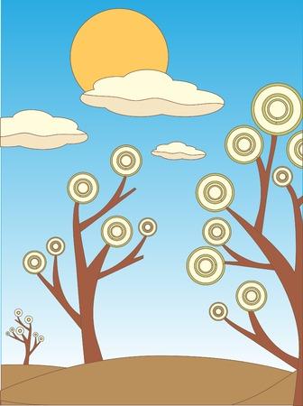 accidentado: Bright Dry color Abstract paisaje de �rboles y el estilo de dibujo de contorno de sol Vectores