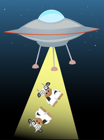 cartoon alien: Ufo beaming up two cows in beam of light Illustration