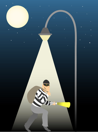 Thief creeping under full moon street lamp Vector