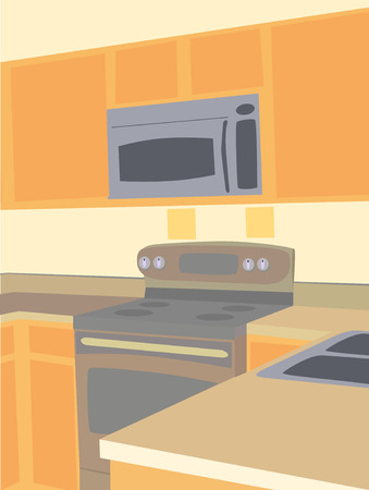 Corner Angled View Of Empty Kitchen Microwave And Stove Counter Tops Vector