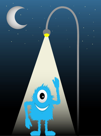 Blue Furry One Eyed Creature Standing Under Street Lamp Waving Vector