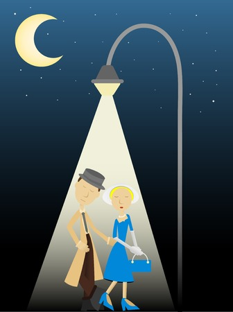 Private Eye and Female Client illuminated by street lamp