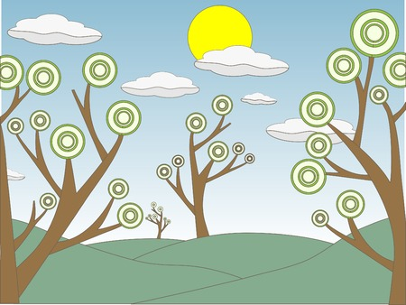 Cloud filled sky with sun above mulptiple outlined sketchy style landscape of odd trees with circles as leaves vector illustration Stock Vector - 8370217