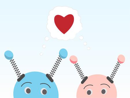 Robot blu e rosa guardando l'un l'altro pensando all'amore