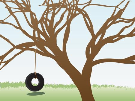 Lonely empty tire swing hangs below branch filled tree editable   illustration