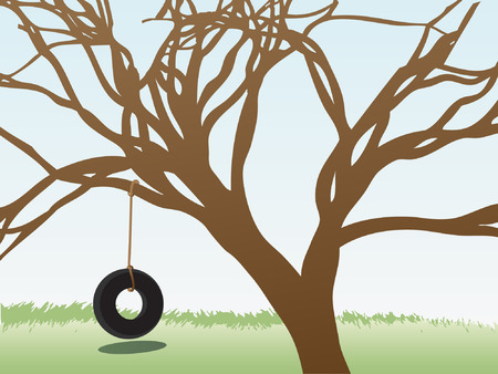 tire: Lonely empty tire swing hangs below branch filled tree editable   illustration