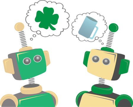 Green and yellow robots think about saint patrick's day drinking editable vector illustration Stock Vector - 8525143