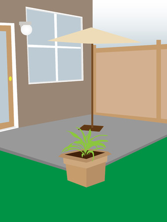 courtyard: Residential backyard enclosed courtyard umbrella and plant editable Vector illustration Illustration