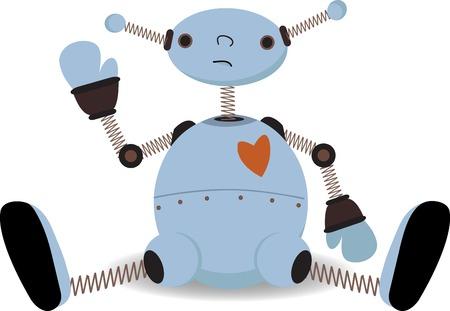 Sad sitting robot waves Vector