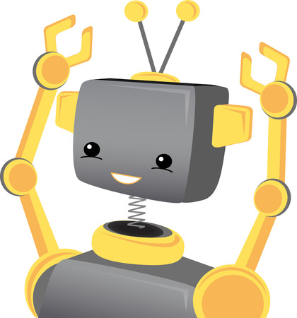 tin robot: Child Robot Smiles Wavs Arms Ups Illustration