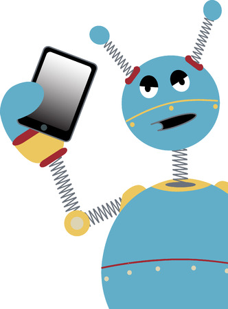 Angry Robot Holding Tablet Stock Vector - 8749265