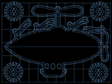 Fantasy Airship Blueprint Gears, Flags Outline On Grid Vector