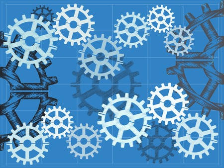 grid: Multiple gears on blueprint grid sketch hand draw style editable vector illustration