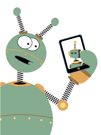 Robot With Surprised Expression Looks At Another Robot On Tablet Screen Illustration