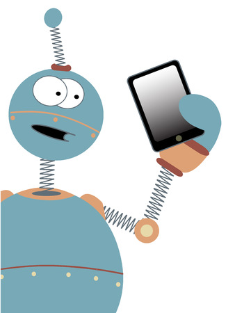 touchpad: Wowing the tablet tech a cartoon robot holds a copyspace friendly device in his amazed hand editable illustration