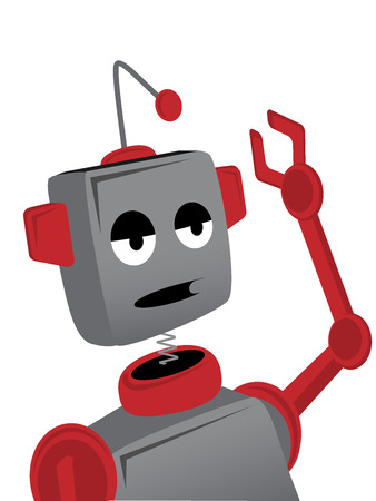 tired cartoon: Bored Sad Cartoon Robot Waves