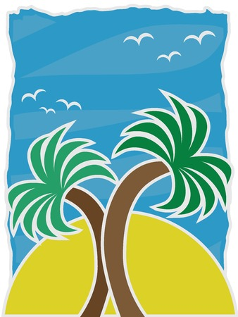 Vector Illustration Twin Palms Accented By Large Sun Birds Blue Sky Stock Vector - 8869633