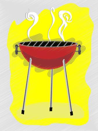 バーベキュー フリーハンド スケッチ風のレトロな広告スタイル ベクトル イラスト
