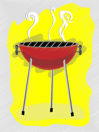 ad: BBQ scribble sketchy retro ad style vector illustration