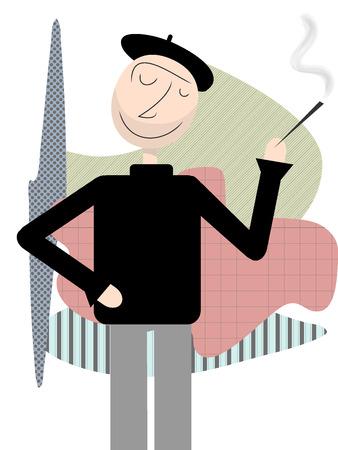 幸せなビートニク立って禁煙抽象的な図形背景