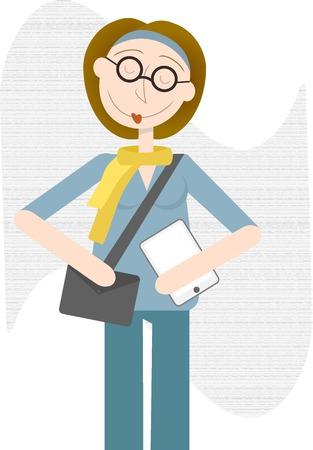 ereader: Rather pleased happy female hipster type holds bag and e-reader tablet editable vector illustration Illustration