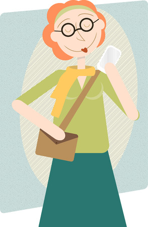 Modern Woman Enjoying cell phone, retro style illustration