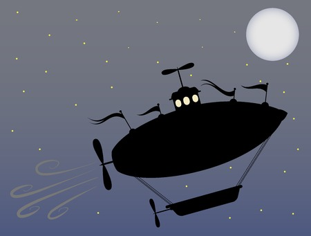 Silhouette airship soaring throw bright night full moon starry sky